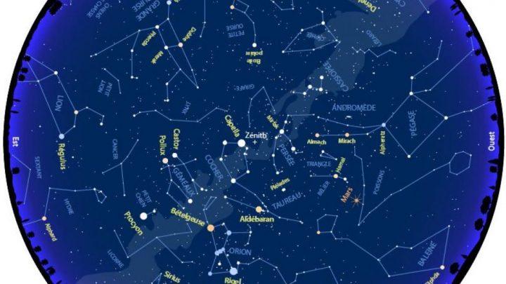 Constellations,  planètes : la carte du ciel de février